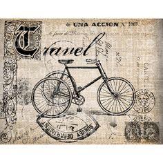 Antique Travel Victorian Bicycle Postmarks Illustration Digital... ($1) ❤ liked on Polyvore