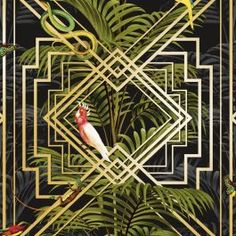 This high quality wallpaper could be used to create an interesting feature wall or would look equally as good running throughout a room. A beautiful art deco inspired wallpaper. Paste the paper wallpaper. Jungle Wallpaper, Wallpaper Art Deco, Snake Wallpaper, Animal Print Wallpaper, Tropical Wallpaper, Tree Wallpaper, Wallpaper Online, Designer Wallpaper, Pattern Wallpaper
