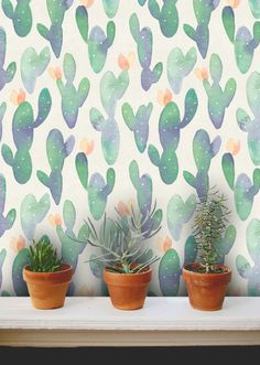 Fondos de acuarela de cactus /Cactus extraíble wallpaper/Cactus quitar pared mural wallpaper/cactus/fondo de pantalla Nr S067