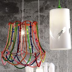 Decorations:Colorful Beads Cover Bulb Glass Hanging Lamp Shade Also Tube Lamp Cover Creative Lamp Shades That Will Light Up Your Life Pink Lamp Shade, Hanging Lamp Shade, Diy Hanging, Lamp Shades, Light Shades, Cool Lamps, Unique Lamps, Diy Lamps, Table Lamps