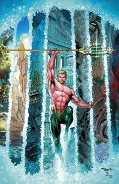 AQUAMAN #24 Written by GEOFF JOHNS Art and cover by PAUL PELLETIER and SEAN PARSONS 1:25 B&W Variant cover by PAUL PELLETIER and SEAN PARSON...