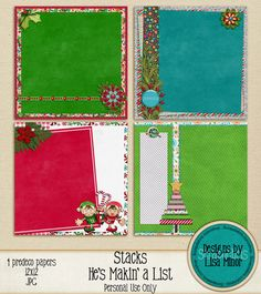 He's Makin a List Stacks, 12x12, Predeco Christmas Pages, Digital Scrapbook Premade pages, Stacked Christmas Papers, Christmas Quick Pages, Elf papers, Christmas Tree Papers