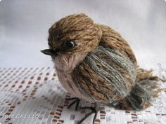 Titmouse and sparrows from yarn