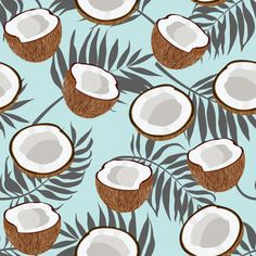 Seamless pattern coconut piece and palm leaves on blue background, Vector illustration Vendetta Wallpaper, Blue Backgrounds, Wallpaper Backgrounds, Cute Summer Wallpapers, Iphone Homescreen Wallpaper, Stoff Design, Whatsapp Wallpaper, Usa Tumblr, Pattern Wallpaper
