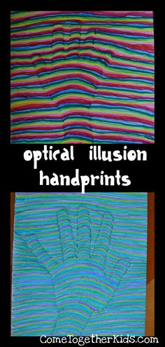 Optical Illusion Handprint.  Trace your hand on paper.  Draw a marker line from edge to hand.  Slightly bow a line to edge.  Straight line to edge of paper.  Repeat using different colors.
