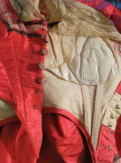 1860 Civil War Ear Coral Silk Three Piece Ball Gown w Basque Lace Up Bodice | eBay