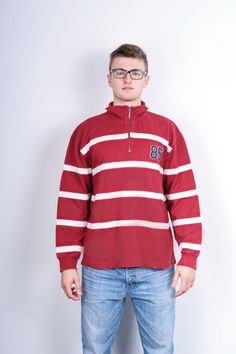Tommy Hilfiger Mens L Sweatshirt Zip Neck Striped Red Cotton Jumper Blouse