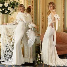 Yolan Cris vintage inspired lace wedding Dresses Divas 2010 collection - Maranta and Cinta bridal gowns with fur accent
