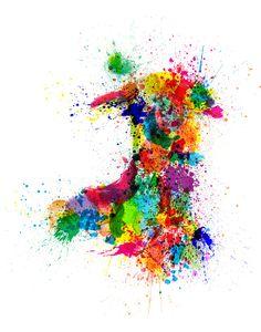 Wales Paint Splashes Map ~ Artist: Michael Tompsett ~ Medium: Digital Art #map #wales #cymru