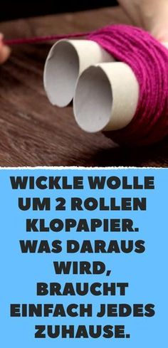 Wickle wool around 2 rolls of toilet paper. What comes of it simply needs every … Wickelwolle um 2 Rollen Toilettenpapier. Was dabei herauskommt, braucht einfach jedes Zuhause. Carton Diy, Diy And Crafts, Crafts For Kids, Water Into Wine, Diy Carpet, Beige Carpet, Carpet Cleaners, Handicraft, Toilet Paper