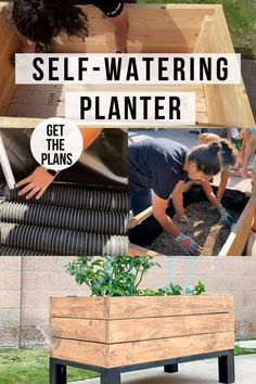 Learn how to make your own self watering planter for container gardening. This raised garden bed self watering planter DIY will remember to water your garden when you don't! #raisedgardenbed…