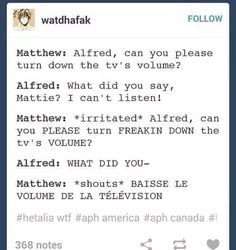 """Now hold on..thats not some real Canadian french..Imma show you some real Canadian French.."""" VAS TU BAISSER LA MOZEUZE DE VOLUME SUR LA COLINE DE TELEVISION?!?!?! """" <---- There we go..thats some real Canadian french..(Im canadian soo..XD)"""