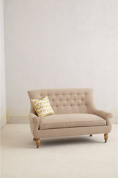 Astrid settee, linen / hardwood / down fill, between $2000 and $2500