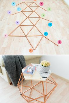 Table with copper pipes DIY # table # pipe- Tabelle mit Kupferrohren DIY # Tisch # Rohr Table with copper pipes DIY Source by - Diy Home Decor Projects, Diy Projects To Try, Diy Room Decor, Decor Ideas, Decorating Ideas, Diy Decorations For Home, Decor Crafts, Diy Ideas, Room Ideas
