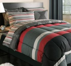 Amazon.com: Black Gray Red Stripes Boys Teen Twin Comforter Set (5 Piece Bed In A Bag): Home & Kitchen