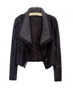 Leather & knit jacket by Chicnova