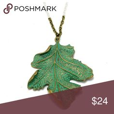 Host Pick! Green & Gold Leaf Necklace Bronzed necklace is 33.46 inches long. Green and gold leaf pendant is 2.55 inches long. Jewelry Necklaces