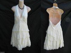 Betsey Johnson Dress Womens 8 Cotton Halter w Tiered Skirt Cream made in USA http://www.ebay.com/itm/-/191588200167…?