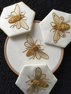 Would be so cool on a white or gray sheet set, esp with a honeycomb border across the pillow case Introduction to Goldwork: Bumblebee Introduction to Gold Work Kit - Purl & Check Bumble Bee - Kathleen Laurel Sage Einführung in Goldwork: Hummel Stickerei Japanese Embroidery, Hand Embroidery Stitches, Hand Embroidery Designs, Embroidery Art, Cross Stitch Embroidery, Indian Embroidery, Zardozi Embroidery, Tambour Embroidery, Simple Embroidery