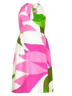 Pink and green flower print halter dress - beautiful and classy for Spring or Summer!