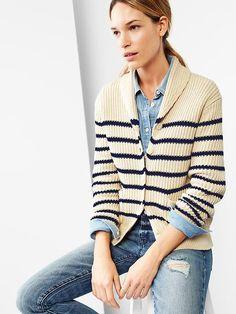 Stripe chunky shawl cardigan in small