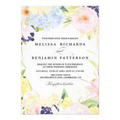 Spring Wedding Invitations Paster Spring Flowers Wedding Invitation