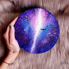 I Create Magical Paintings On Wood Inspired By The Forest - Malerei Wood Painting Art, Stone Painting, Wood Art, Wood Wood, Diy Wood, Wood Crafts, Wood Paintings, Galaxy Painting Acrylic, Watercolor Galaxy