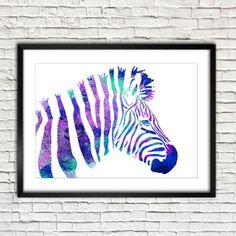 Watercolor Painting Safari Animal blue purple Zebra Archival Print. Watercolor poster. Handmade poster.