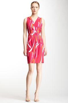 Printed Surplice Neck Dress by Calvin Klein Dresses on @HauteLook