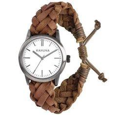 Herren Gewebten Freundschaft Armbanduhr  braun und  Leder KGF-0009G