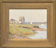 Lot 1141. ALDRO THOMPSON HIBBARD (American, 1886-1972) COASTAL SHORELINE VIEW WITH BOATS AND BUILDINGS (90489)