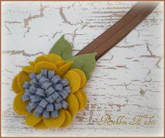 Felt Flower Headband for Girls in Mustard Yellow & por Ribbonhabit