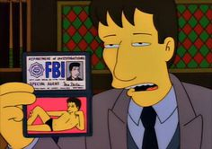 When the X-Files was on the Simpsons. Too funny! Especially with the Mulder speedo! Simpsons Episodes, The Simpsons, Simpsons Quotes, Fbi Special Agent, Dana Scully, David Duchovny, Comic, Homer Simpson, Futurama