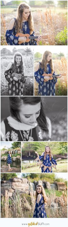 Houston Senior Pictures with ukulele in a field, music major, senior bunting sign, Gilded Sun Photography www.gildedsun.com