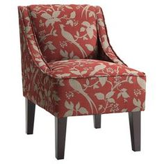 """Bird and floral-print slipper chair with a kiln-dried hardwood frame and foam cushioning.   Product: ChairConstruction Material: Kiln dried hardwood and fabricColor: Crimson and espressoFeatures:  High density foam seatingSwoop-back, armless design Dimensions: 34"""" H x 23"""" W x 28"""" D"""