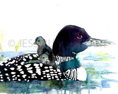 Loon Love by Jessica Buhman 8 x 10 print of original watercolor painting on bright white, heavy card stock paper. Will be shipped quickly and securely. Please message with any special instructions or questions.  I love painting birds, especially in a colorful, abstract style. You can find more of my bird paintings at the link below: https://www.etsy.com/shop/ArtbyJessBuhman?section_id=13698075&ref=shopsection_leftnav_3  You can also check out other animal paintings and portraits in my Etsy…
