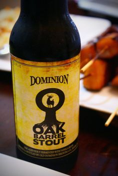 Dominion Oak Barrel Stout (Delaware) - 6.10% ABV. Smoked and peated malts used, dry hopping w/ vanilla beans & oak chips give a nice oak, coffee/chocolate flavor.