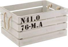 Caisse de rangement Marina en Bois blanc 38x28,5x18,5cm- j'aime le côté nautique, voir si ça peut servir