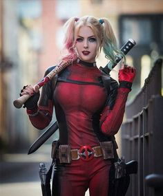Harley Quinn from DC Comics (Deadpool Version) cosplay by Maid of Might Cosplay Deadpool Cosplay, Lady Deadpool, Cosplay Marvel, Harley Quinn Cosplay, Deadpool Halloween, Deadpool Art, Superhero Cosplay, Dc Cosplay, Amazing Cosplay
