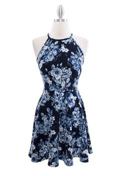 "- Blue floral print high neck dress with single button keyhole back - 95% Polyester, 5% Spandex - 35"" L Neck to Hem - True to Size"