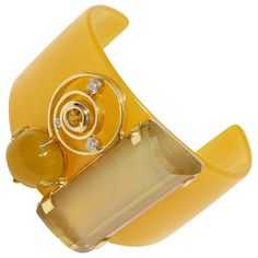 Citrine Yellow Sapphire Botswana Agate Diamond Gold Bakelite Cuff Bracelet | From a unique collection of vintage cuff bracelets at https://www.1stdibs.com/jewelry/bracelets/cuff-bracelets/