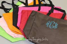 Personalized Tote Bag  Monogrammed Bag  by happythoughtsgifts