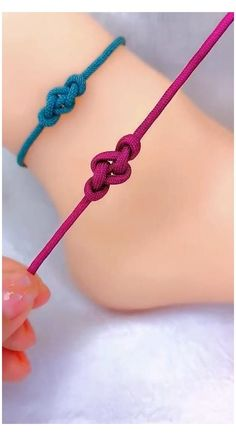Rope Crafts, Diy Crafts Hacks, Diy Crafts Jewelry, Bracelet Crafts, Diy Bracelets Patterns, Diy Bracelets Easy, Slip Knot Bracelets, Diamond Bracelets, Shoelace Bracelet