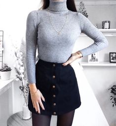 Casual Winter Outfit Ideas Mode de Vie Zara Woman Winter Collection - My Favorite Clothing Items Winter Outfits 2019, Casual Winter Outfits, Fall Outfits, Dress Casual, Black Outfits, Casual Summer, Winter Outfits With Skirts, Party Outfit Winter, Denim Skirt Outfit Winter