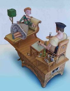 'The artist' automaton by Cool4Cats ... These are amazing automata constructed from paper!