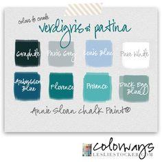 COLORWAYS  Annie Sloan Chalk Paint® color studies to create patina and verdigris www.lesliestocker.com