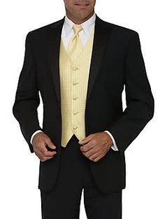 This classic tux is the perfect look for your guy. The yellow vest and tie will match your dress perfectly. Father Of The Bride Outfit, Yellow Wedding, Daisy Wedding, Wedding Ring, Dream Wedding, Prom Dance, Vest And Tie, Evolution T Shirt, Wedding Suits