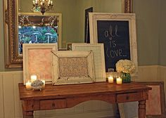 shabby fabric frames for sign in table