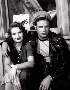 Marlon Brando with Mary Murphy on the set of 'The Wild One', 1953.