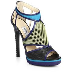 """Lythe Mixed-Media Sandals A vibrantly hued cutout style comprised of texture-rich rubber, suede and leather. Sculpted lacquered heel, 5"""" (125mm). Platform, .50…"""